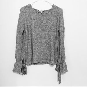 Lucky Brand Gray Knit Long Sleeve Blouse